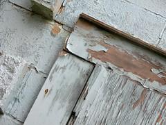 Peeling paint and worn wood (Jason-Morrison) Tags: wood blue ohio shop wall peeling paint macedonia worn cinderblock northfield autoshop nordonia