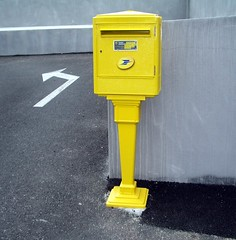 French Post Box (La Poste). (maisonburke) Tags: france yellow mailboxes letterboxes laposte frenchlife thebestyellow
