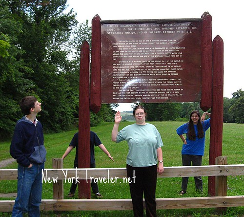 Kids at the Champlain Battle Plaque