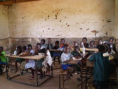 Mukuni village school - 1 (tharemachi) Tags: poverty life africa charity school girls boys children town education desk poor learning deprived machi thare tharemachi