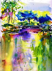 River Prism (Artist Naturalist-Mike Sherman) Tags: sunset painting arches 9x12 waterscape 140 islandpark chippewariver midmichigan transparentwatercolor isabellacounty coldpress visiongroup