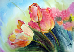 Sunny Tulips (R.khosh) Tags: pink flowers flower art watercolor tulips paintings tulip   digitalworld aworkofart  impressedbeauty visiongroup sharingart  theworldinflickr