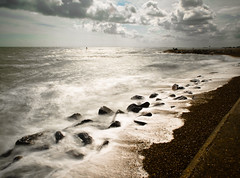 dante's beach (jamesgalpin) Tags: beach clouds rocks waves olympus pebbles 2008 e1 hythe liquidsilver abigfave ndx1000 bw110 1442mm