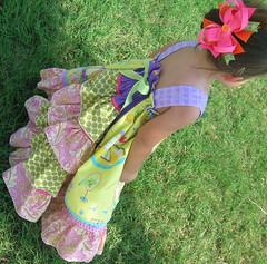 HappyDressModeledSide1 (HibiscusBaby) Tags: pink green girl yellow kids ruffles happy clothing toddler ribbons child dress purple amy handmade circus spirit heather sewing free apron miller bailey butler childrens lime ric feliz tantrum rac felicity dena studion farbenmix fishben