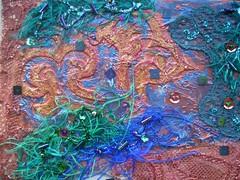 Detail Angel at work 1 (Karen Cattoire) Tags: original art texture collage angel beads acrylic handmade lace originalart silk creation fabric fiberart beading fibers acrylicpaint textileart tissu abstrait textiledart karencattoire fibretextile arttexilte