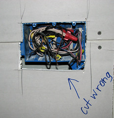 Remodel Drywall 019 (MathTeacherGuy) Tags: home kitchen drywall project construction error repair framing renovation remodel electrical contractor errors carpenter mistakes goofs sheetrock measurement