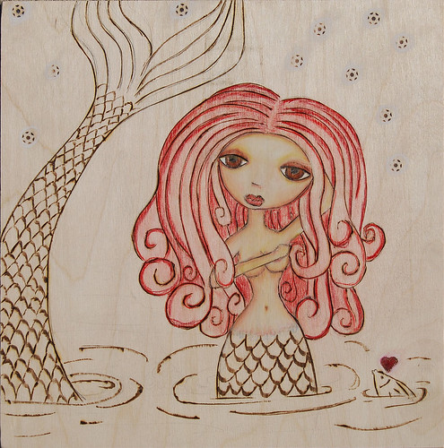 sirena - woodburning complete, some more shading