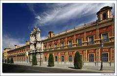 5 Postcards from Sevilla... 1st: 'Palacio de San Telmo' (B'Rob) Tags: city travel blue sky espaa orange cloud streetart color building art tourism azul architecture photography mar photo yahoo google sevilla spain arquitectura nikon flickr arte edificio picture palace tourist colores seville andalucia best explore cielo wikipedia eden baroque andalusia nube santelmo mejor palacio barroco d300 brob explored sainttelmo gettyimagesspainq1 brobphoto