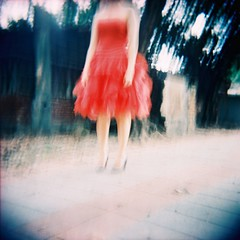 La Rouge Girl (Fabienne Lin) Tags: portrait people 120 film feet girl female holga lomo dress femme squareformat outing 120gcnf holga120gcnf