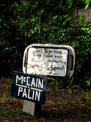 Free Sign (yankeepez) Tags: sign tampa thief fl stolen theft mccain freespeech palin deserved
