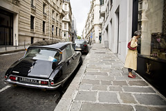 Quintessentially French (Lidia Camacho) Tags: street red paris france car lady store coat citroen ds citron luxury slippers brands lv louisvuitton quintessential desse copyrightedallrightsreserved