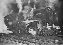 'Britannia' class no.70000 'Britannia'. Birmingham (New Street) 18 January 1964 (ricsrailpics) Tags: uk bw nightshot flash steam 1964 birminghamnewstreet brbritanniaclass