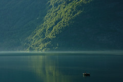 Lustrafjord, Norway (Jesper Hauge) Tags: morning blue trees green water norway reflections boats boat nikon d70 100v10f fjord fjords sognefjord naturesgallery konkurrencer tlcphotography
