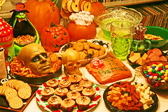 Dread Spread 2008 (boopsie.daisy) Tags: party food orange halloween cookies cake table skull spread spider cupcakes yummy october candy head spiders witch treats pumpkins junkfood apples ghosts snacks appetizers goodies 31st bloggedhalloween