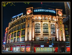 Galeries Lafayette, Strasbourg, France (Mike G. K.) Tags: longexposure windows signs france building window architecture night lights neon nightshot columns strasbourg alsace shops galerieslafayette dri exposureblending photomatix 15s 4exp kleberplace notbetterthangood