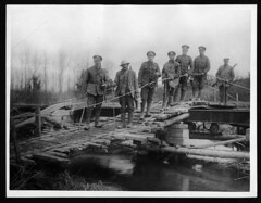 One of the many temporary bridges made by the R.E.s over the Somme (National Library of Scotland) Tags: bridge france