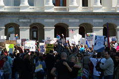 Prop. 8 Protest, Sacramento Capital Building Steps