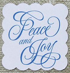 Peace and Joy holiday christmas tag
