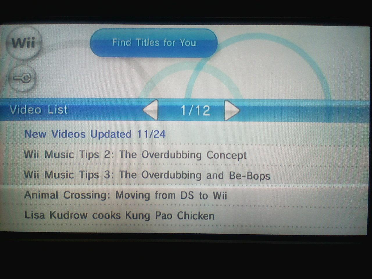 Nintendo Channel Update 11/24/08 (NA)