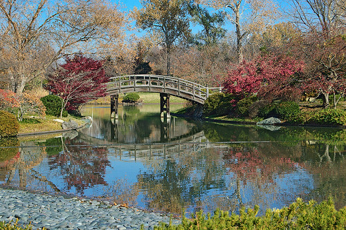 "Missouri Botanical (""Shaw's"") Garden, in Saint Louis, Missouri, USA - bridge in Japanese Garden"