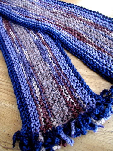 Blue Garter Stitch Scarf