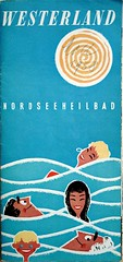 blue summer (allerleirau) Tags: travel blue summer pool illustration vintage germany advertising flyer bath waves fifties seasons graphic ad tourist retro ephemera swimmingpool northsea 1958 50s booklet leaflet brochure spa nordsee midcentury westerland broschre heilbad therapeuticbath