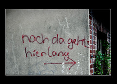 That direction (roomman) Tags: trees tree nature fog wall writing germany way am airport closed hessen force geocaching treasure post path frankfurt aviation military air main transport arboretum saying direction pasture transportation da directions geocache pastures cache write gps written dust airforce 2008 geo slogan rhein taunus lang hunt riddle airfield nach hesse treasurehunt sulzbach hier rheinmain geocach schwalbach eschborn gehts y74 geocacheing vordertaunus gcmb3f wwwy74de geocachingorg