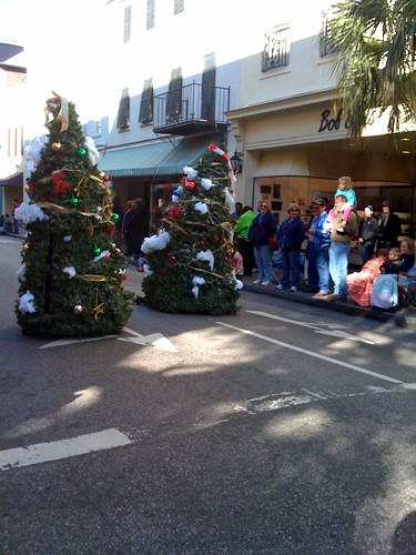 Walking Christmas trees in Charleston parade by jameswhitefanclub.