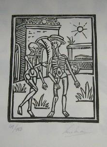 Carelmans signed print - Danse Macabre