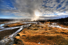 Geysir Area, Haukadalur valley - Iceland (5ERG10) Tags: blue sunset sky sergio island iceland nikon europe wideangle handheld sulphur geology geyser sulfur scandinavia geothermal geysir strokkur hdr highdynamicrange icelandic geysers d300 blesi haukadalur nordiccountries 3xp sigmalens photomatix sigma1020 photoshp tonemapping arnessysla geysirarea lýðveldið árnessýsla amiti 5erg10 geyserarea sergioamiti