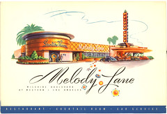 Melody Lane (jericl cat) Tags: tower sign architecture illustration vintage menu design losangeles artwork neon room style drivein pylon melody cover lane font roadside starlight