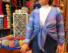 Stella is modelling her new cardi (sifis) Tags: blue light colour wool shop canon shopping knitting buttons stripes knit athens yarn greece jacket mohair button cardigan s90 sakalak