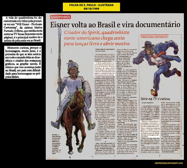 """""""Eisner volta ao Brasil e vira documentário"""" - Folha de São Paulo - 09/10/1999"""