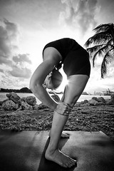 Ouch ! (eyecbeauty) Tags: blackandwhite bw yoga bend fl bendover miamibeach southbeach backbend artofimages