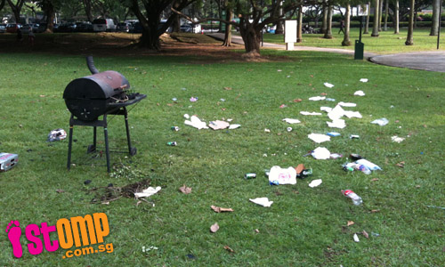 Litterbugs have BBQ at East Coast Park field then leave rubbish all over the place