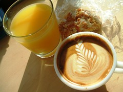 Flat white, OJ and scone
