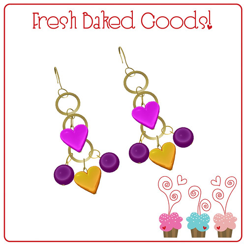 ~*Fresh Baked Goods*~ NEW FREEBIE *velvet* Signature Color Gold Charm Earrings