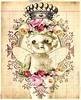 the garden of eden (ms_mod) Tags: pink roses bird art collage digital vintage paper aqua doll antique mixedmedia magic victorian dream queen ephemera fairy tintype crown etsy baroque kewpie ledger dollfacedesign