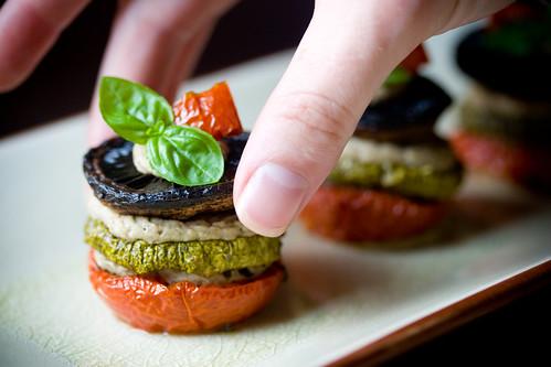 Miniature Napoleons with Eggplant Creme