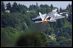 Unrestricted climb (F/Depth Photography) Tags: usa field climb washington fighter force martin air jet ak raptor stealth f22 boeing lockheed vapor afterburner bfi kbfi unrestricted 4115 f22a 064115