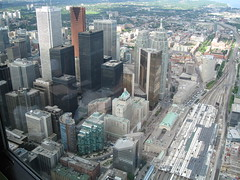 Downtown Toronto from the tower (Quevillon) Tags: toronto ontario downtown cntower downtowntoronto goldenhorseshoe