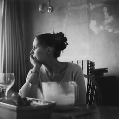 Helen ponders. (annaphotographer) Tags: old blackandwhite woman 120 tlr film girl monochrome vintage square 1930s ancient alone wine voigtlander think thoughtful retro reflect lonely ponder derelict brilliant