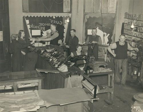 Konstanty Kaminski's Shoe Repair Shop, c 1937 (Dad, Irene, and Grandma K are in picture) Repaired Copy