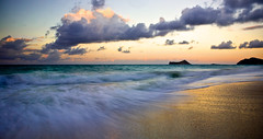 Waimanalo Beach Sunset (Rex Maximilian) Tags: ocean beach clouds hawaii twilight waves oahu tide waimanalo vog rabbitisland mananaisland makapuupoint
