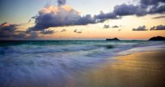 Waimanalo Beach Sunset (Rex Maximilian) Tags: ocean beach clouds hawaii twilight waves oahu tide waimanalo vog rabbitisland mananaisland makapu'upoint