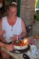 Jane and Her Cake (RobW_) Tags: birthday cake 40th jane july tiramisu 2008 thursday freddiesbar tsilivi jul2008 31jul2008