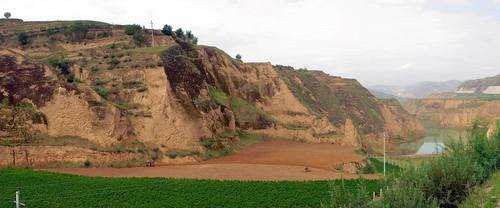 Deep clay gorges east of Gantsaodian, Gansu Province, China