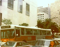 Union Square 1979 (edited) (Dan_DC) Tags: sanfrancisco vintage vintagesanfrancisco 1970s unionsquare city urban trolleybus bus muni publictransit shoppingmecca legacy heritage traditionalamericanretail