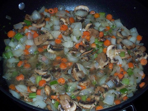 sauteing vegetables for pot pie