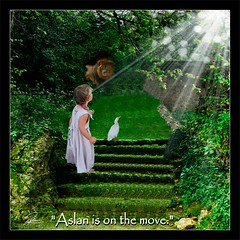 Narnia - Aslan is on the move (picture_them_perfect) Tags: sun girl photo duck c lion lewis manipulation s fantasy narnia childrens aslan chronicles beams enchanted sunbeams
